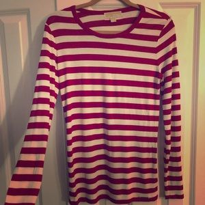 Michael Kors red striped long sleeve